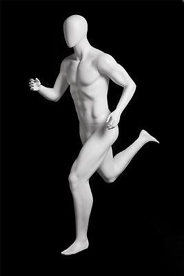 Male Full Body Running Sports Mannequin - Matte White - Egg Head - W Base