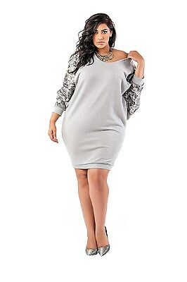 Poetic Justice Curvy Women's Plus Size French Terry Floral Printed Dolman Dress