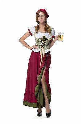 German Bavarian Adult Beer Garden Girl Fancy Dress Renaissance Wench Costume - Beer Garden Girl