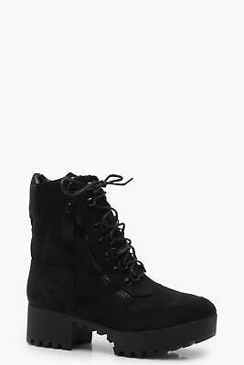 Boohoo Chunky Zip and Lace Up Hiker Boots in Black Size UK 8 US 10