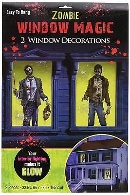 ZOMBIES WINDOW Magic Scene Setter Party Decorations Walking Dead Halloween Glow (Window Magic Halloween)