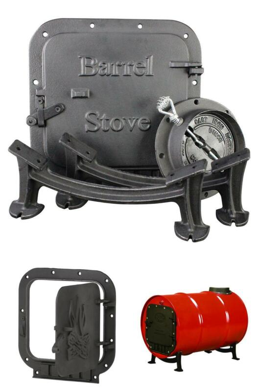 Barrel Camp Stove Kit For Steel Drum Cast Iron Fireplace Accesories US Camping
