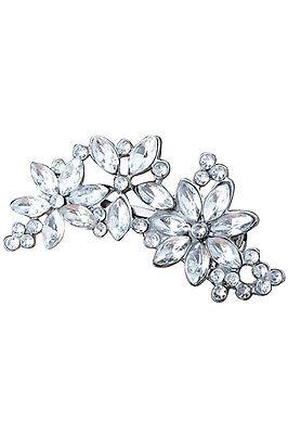 Silver Women's Rhinestone Flower Crystal Hair Clip Jewelry N3