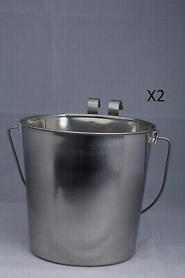 Indipets Heavy Duty Flat Sided Stainless Steel Pail With Hooks 6 Qt 2 Pack