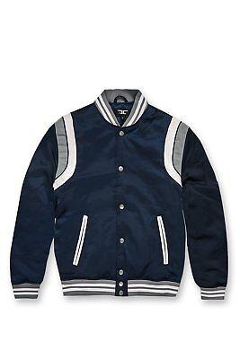 069659d6177dc0 New Men s Jordan Craig Geneva Satin Varsity Jacket Navy Blue Size Medium  New!