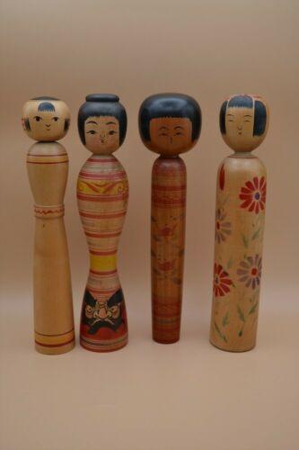 Kokeshi Dolls Lot of 4 Japanese Traditional Doll Wooden Japanese Vintage 015