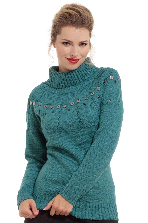 VOODOO VIXEN RETRO VINTAGE SAMMIE TURTLENECK OWL BLUE SWEATER TOP SWA6239 Clothing, Shoes & Accessories