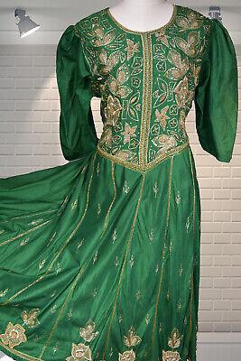 BEAUTIFUL Vintage Emerald Green Silk & Metallic Bullion Embroidered Indian Dress