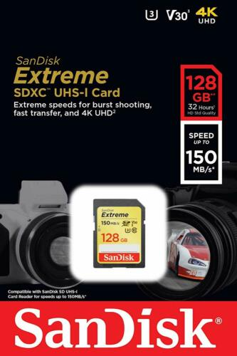 SanDisk Extreme 128GB SDXC 150MB/S 1000x UHS-1 SD Class 10 Memory Card 128G 4K