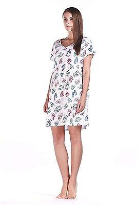 Print Sleep Tee (Women Cotton Plus Size Nightgowns Sleep Shirts Print Tee Casual Sleepwear)