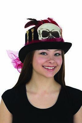 Adult Voodoo Witch Doctor Mardi Gras Skull Bones Halloween Costume Top Hat