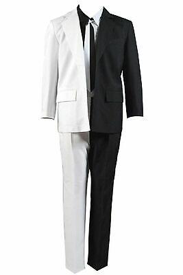Black Harvey Dent (Batman Two-Face Harvey Dent Cosplay Costume Tie Jacket Black White Suit Outfit)