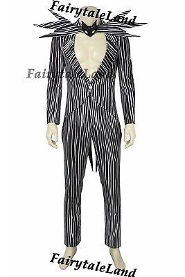 The Nightmare Before Christmas Cosplay Jack Skellington Stripe Costume suit tie