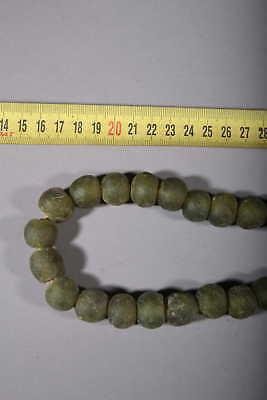 Art African Beads African Molten Glass of Ghana - Green