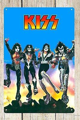 US SELLER-Kiss American rock band metal tin sign room den wall art wall -