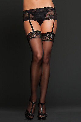 iCollection Lingerie Sheer lace top thigh highs One Size - 8601