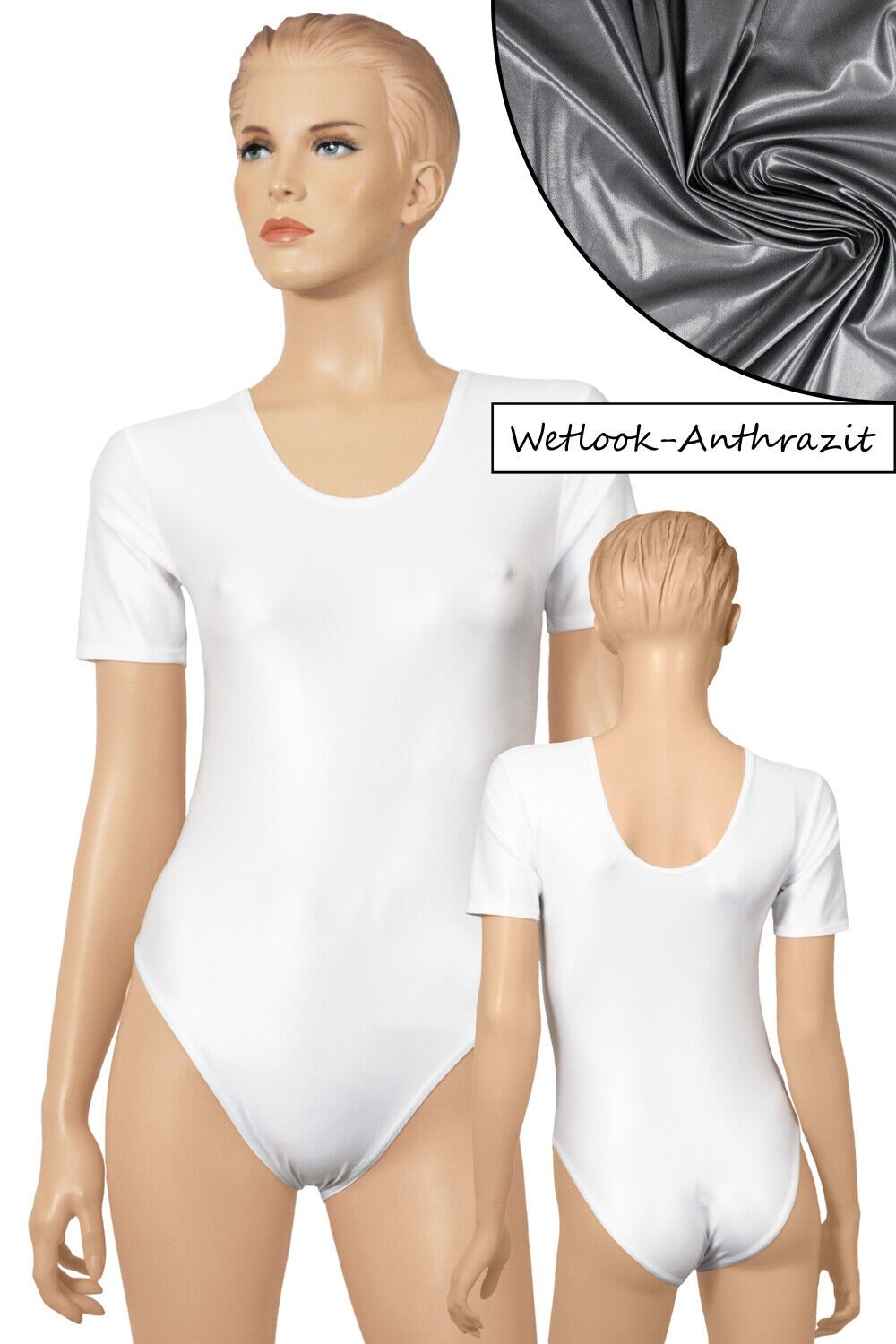 Damen Wetlook Body Rundhals kurze Ärmel stretch shiny Farben kurzarm-Body S-XL