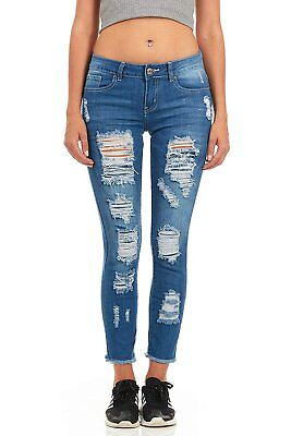 Cover Girl Denim Distressed Ripped Skinny Jeans for Women Fray Hem - Juniors Distressed Skinny Jeans