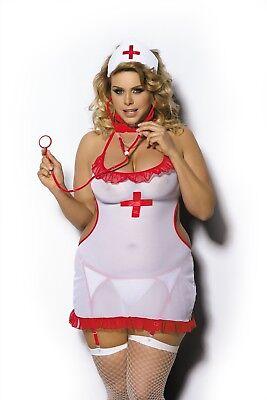 wester Weiß/Rot Neckholder Dessous Kleid Übergröße XL- 6XL (Plus Size Krankenschwester Dessous)