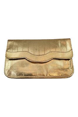 1950s Handbags, Purses, and Evening Bag Styles UNLABELLED Vintage 1950s 1960s Gold Leather Rectangular Clutch Purse (M) $20.60 AT vintagedancer.com