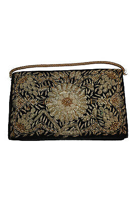 1930s Handbags and Purses Fashion VINTAGE 1930s Black Velvet Embroidered Silver Gold Sunflower Style Zardozi Bag S $55.27 AT vintagedancer.com