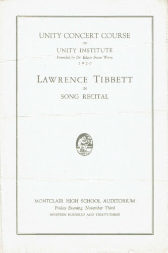 1933 Program LAWRENCE TIBBETT IN SONG RECITAL Unity Concert at Montclair High