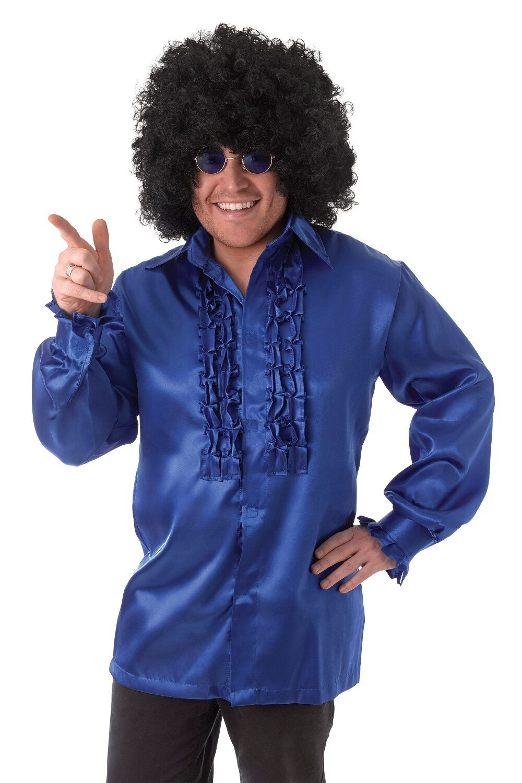 Blu 1970 S Costume Camicia di Raso /& Increspature