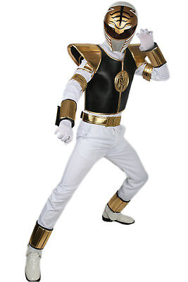 White Ranger Costume Power Rangers Halloween Cosplay Replica Outfit XCOSER