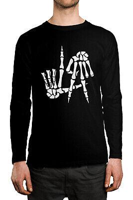 Skeleton Long Sleeve Shirt Costume (Skeleton Hands LA Sign Funny Halloween Costume Idea Long Sleeve Men's)