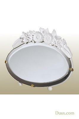 Barbola Floral White Chalk Paint Oval Table or Wall Mirror 12 x 19cm