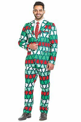 Men's Tipsy Elves Novelty Christmas Tree 'Pine Playboy' 2 Piece Suit 46R 36W 33L - Playboy Suit