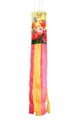Toland Bunny Tulip 5.5 x 40 Inch Easter Critter Windsock