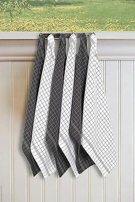 Window Pane Kitchen Towels 6 Pcs Cotton Tea Towels Multi Purpose 2 Design Assort