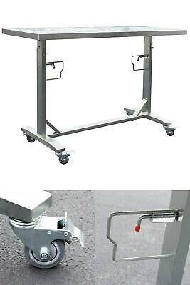 Stainless Steel Adjustable Height Work Kitchen Utility Table W Locking Casters