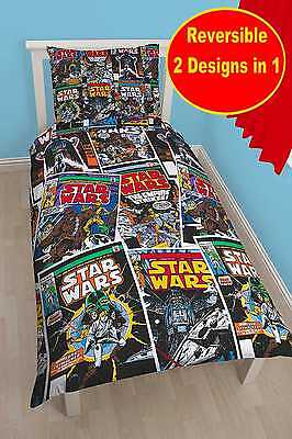 New POLYCOTTON Star Wars Comic Book Single Duvet Quilt Cover Set Boys Kids Bed