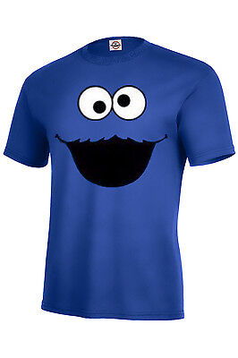 Cookie Monster T-shirt r.blue KIDS XS2-4-XL18-20 ADULT S-5XL LONG SLEEVE S-5XL - Cookie Sleeves