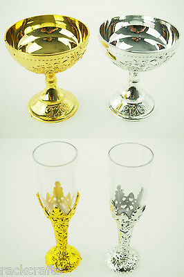Gold Silver Metallic Mini Plastic Champagne Wine Cup Glass Chalice Wedding Decor