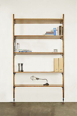 """83"""" H Wall unit 5 book shelve oak wood black steel hand crafted unique design, used for sale  Shipping to Nigeria"""