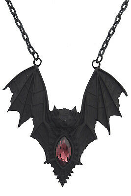 Restyle Gothic Vampire Bat Pendant Necklace Black Goth Gift Witch Jewelry