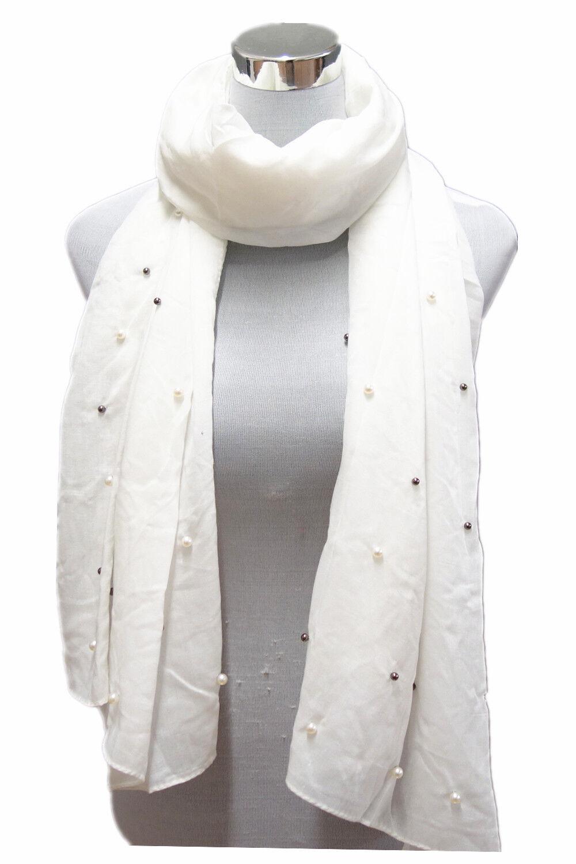 Damen  Schal Sommer Blogger Plaid Tuch Dünn mit Kleine Perlen Kugel Weiß 7512