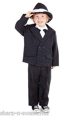 Jungen Kinder 1920s Jahre Gangster Bugsy Malone Kostüm Kleid Outfit mit Hut