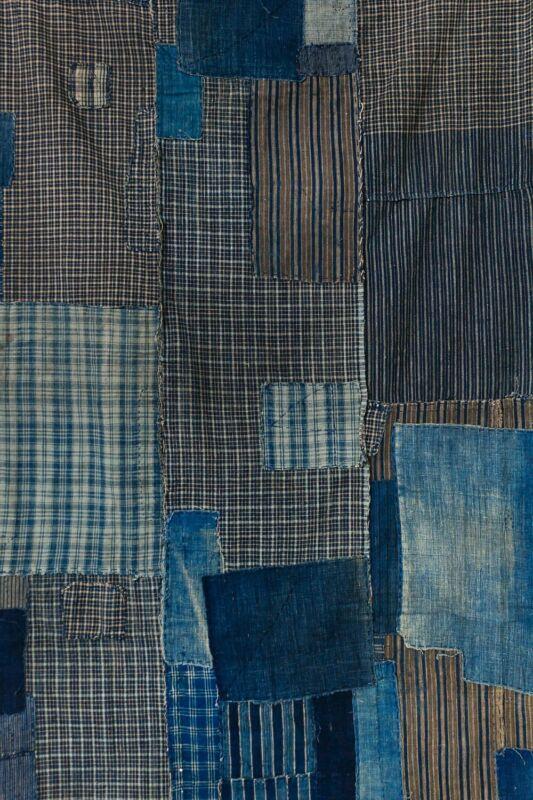 Antique Japanese boro futon — indigo lattices and stripes