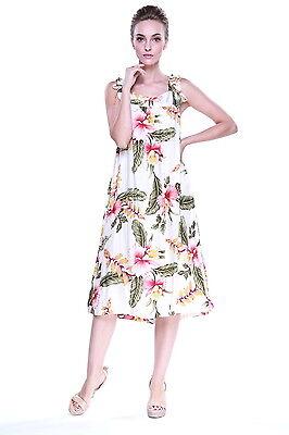 Plus Size Dress Melani Tropical Luau Dress Cruise Hawaiian Orchid Cream - Plus Size Luau Dress