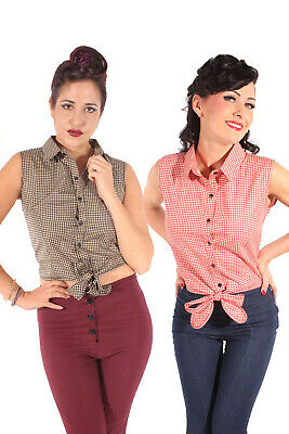 Gingham retro rockabilly Taillenbluse Country Binde Bluse Kurzbluse Rockabilly Gingham