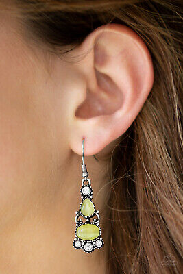 Paparazzi jewelry white rhinestones , yellow moonstones earrings nwt