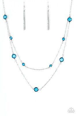PAPARAZZI RAISE YOUR GLASS BLUE GEMS NECKLACE & EARRING (Paparazzi Glasses)