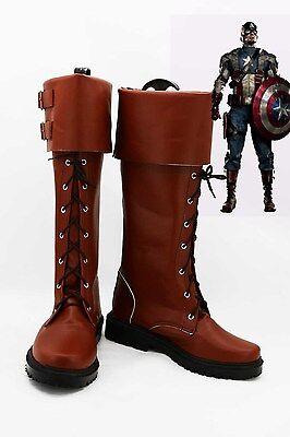 Captain America Steven Steve Rogers Cosplay Schuhe Kostüm Stiefel Shoes Boots (Captain Steve Rogers Kostüm)