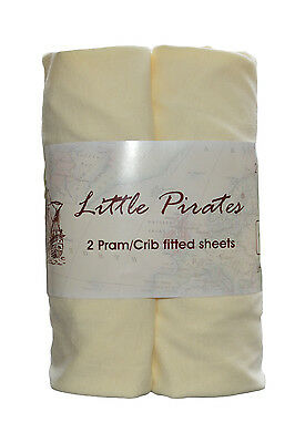 2 x Baby Pram/Crib/ Moses Basket Jersey Fitted Sheet 100% Cotton Cream 40x90cm