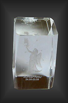 Laser 3 D Kristall Glasblock Glaswürfel mit Innengravur Sternzeichen Jungfrau