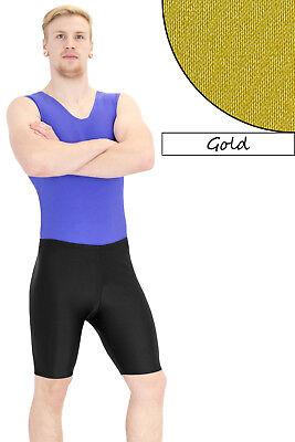 Herren Radler Gold Radlerhose Shorts stretch shiny glänzend kurze Sporthose (Glänzendes Gold Hose Herren)